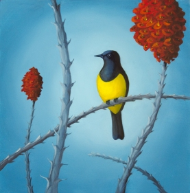 "Oriole and Ocotillo . 12"" x 12"" . © Crystal Allbright . sold"